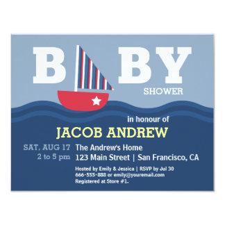 Baby shower nautique de voilier mignon cartons d'invitation