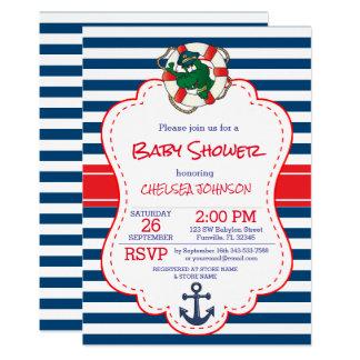Baby shower nautique mignon d'alligator carton d'invitation  12,7 cm x 17,78 cm