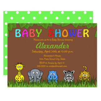 Baby shower neutre animal de jungle de safari carton d'invitation  12,7 cm x 17,78 cm
