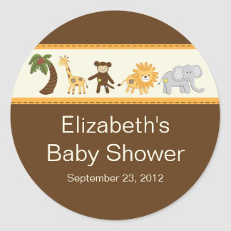 Baby shower neutre animal de safari de jungle sticker rond