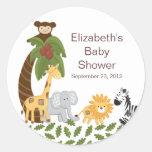 Baby shower neutre animal de safari de jungle autocollants ronds