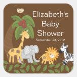Baby shower neutre animal de safari de jungle autocollants carrés