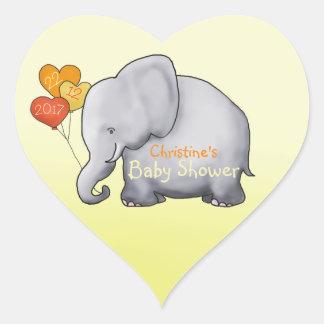 Baby shower non sexiste d'éléphant mignon de sticker cœur