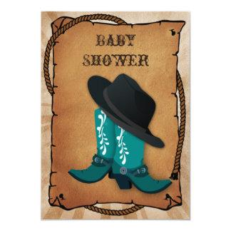 baby shower occidental bleu de bottes de cowboy carton d'invitation  12,7 cm x 17,78 cm