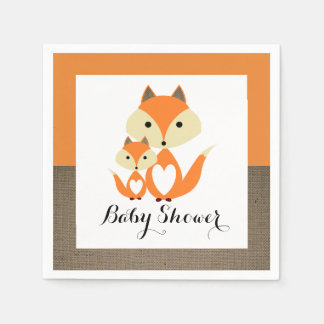 Baby shower orange de toile de jute de Fox Serviette En Papier