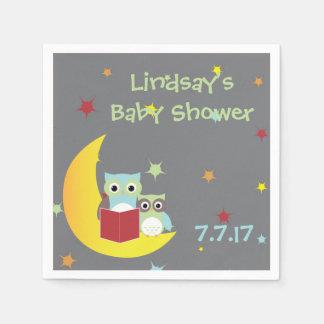 Baby shower orienté de serviettes de hibou serviettes en papier