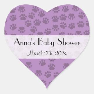 Baby shower - pattes de chien, empreintes de sticker cœur