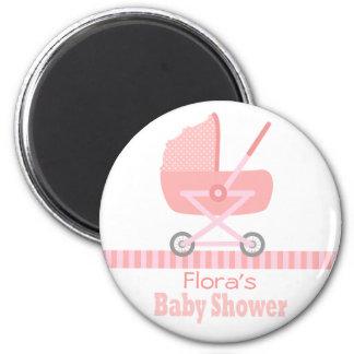 Baby shower : Poussette de bébé/landau roses migno Magnet Rond 8 Cm