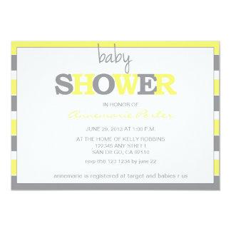 Baby shower rayé Invitation-Gris et jaune Carton D'invitation 12,7 Cm X 17,78 Cm