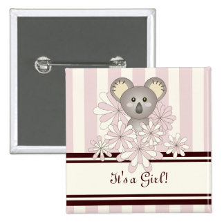 Baby shower rayé mignon de rose en pastel de koala badges