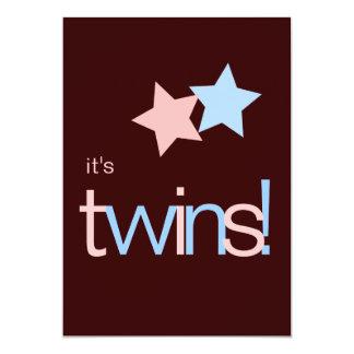 Baby shower rose de Brown bleu de jumeaux Carton D'invitation 12,7 Cm X 17,78 Cm