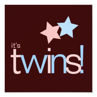 Baby shower rose de Brown bleu de jumeaux Carton D'invitation 13,33 Cm
