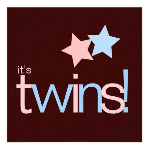 Baby shower rose de Brown bleu de jumeaux Cartons D'invitation Personnalisés