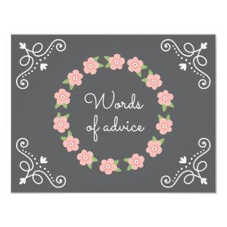Baby shower rose de conseils de guirlande de fleur carton d'invitation 10,79 cm x 13,97 cm