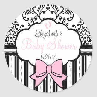 Baby shower rose de damassé sticker rond