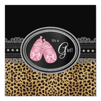 Baby shower rose de léopard carton d'invitation  13,33 cm