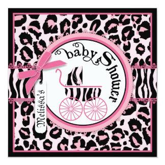Baby shower rose de voiture d'enfant de vedette du carton d'invitation  13,33 cm