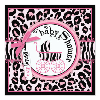 Baby shower rose de voiture d'enfant de vedette du cartons d'invitation
