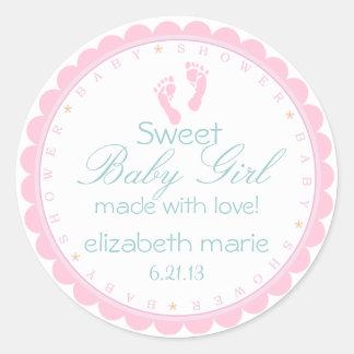 Baby shower rose d'empreintes de pas adhésifs ronds
