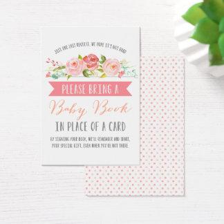 Baby shower rose du livre | de bébé de bannière cartes de visite