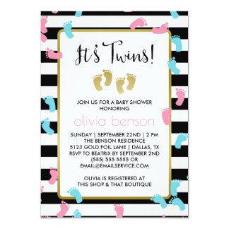 Baby shower rose et bleu de jumeaux d'empreintes carton d'invitation  12,7 cm x 17,78 cm