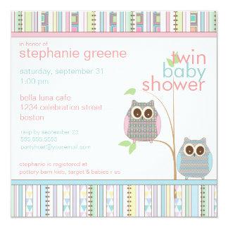 Baby shower rose et bleu jumeau de hibou de bébé carton d'invitation  13,33 cm