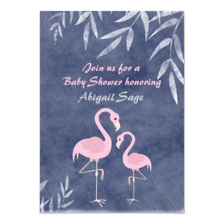 Baby shower rose tropical de plage de flamant carton d'invitation  12,7 cm x 17,78 cm