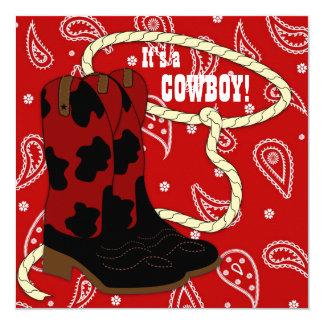 Baby shower rouge de cowboy de Bandana Carton D'invitation 13,33 Cm
