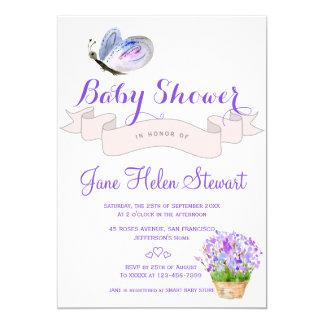 Baby shower rustique de papillon de lavande carton d'invitation  12,7 cm x 17,78 cm