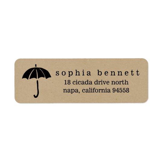 Baby shower rustique de parapluie de Papier Étiquette D'adresse Retour