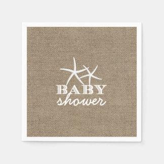 Baby shower rustique de toile de jute d'étoiles de serviette jetable