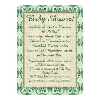 Baby shower sur floral vert carton d'invitation  13,97 cm x 19,05 cm