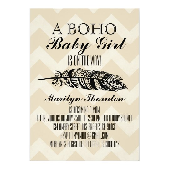 Baby shower tribal de Bohème moderne de Chevron de Carton D'invitation 12,7 Cm X 17,78 Cm