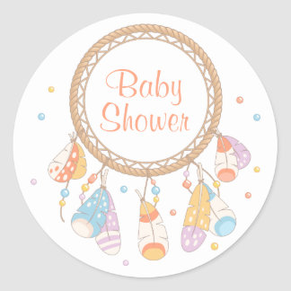 Baby shower tribal de Dreamcatcher Boho Sticker Rond