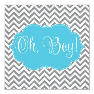 Baby shower turquoise moderne de garçon de gris carton d'invitation  13,33 cm