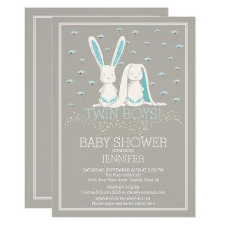 Baby shower unique de lapin de garçons de JUMEAU Carton D'invitation 12,7 Cm X 17,78 Cm