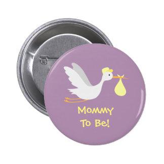 Baby shower unisexe lunatique de cigogne badges