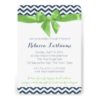 Baby shower vert d arc et de zigzag invitation personnalisable