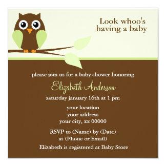 Baby shower vert de hibou carton d'invitation  13,33 cm