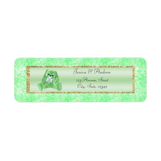 Baby shower vert mignon de lapin étiquette d'adresse retour