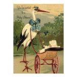 Baby shower victorien vintage de chariot de cigogn invitations