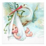 Baby shower vintage bleu turquoise de cigogne invitation personnalisée