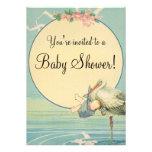 Baby shower vintage de couverture bleue de bébé de faire-parts