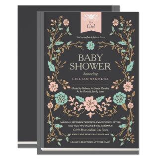 Baby shower vintage de livre de contes carton d'invitation  12,7 cm x 17,78 cm