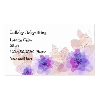 Babysitter florale simple carte de visite standard