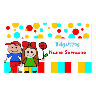 babysitter, gardant les enfants, école carte de visite standard
