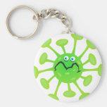 Bactéries drôles de germe de bande dessinée porte-clé rond