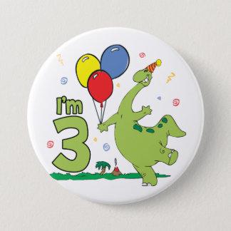 Badge 3ème bouton d'anniversaire de Dino