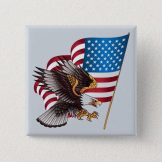 Badge 4 juillet drapeau américain et Eagle