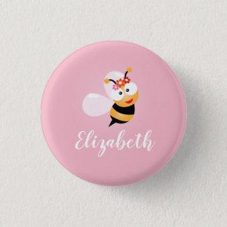 Badge Abeille rose Girly mignonne de miel de demoiselle